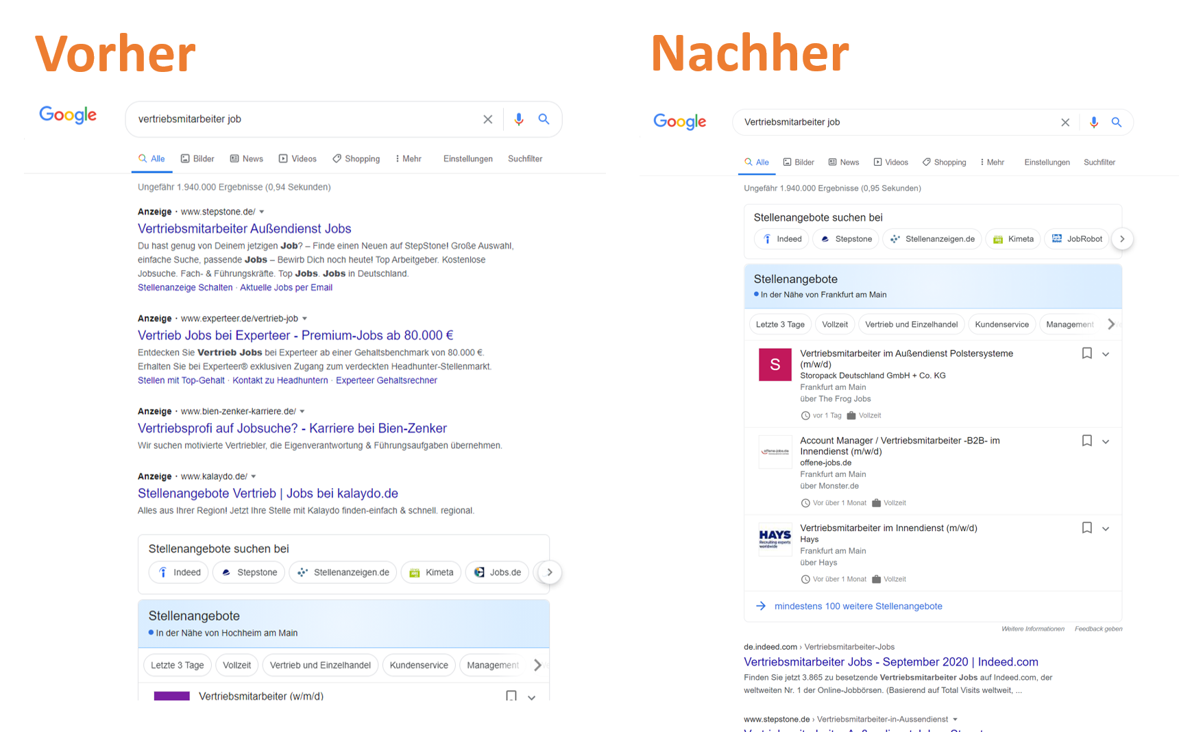 Google for Jobs Update Ads vs no Ads